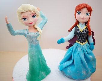 Frozen cake topper, Frozen Princess Elsa cake topper,Frozen Princess Anna cake toppe, frozen birthday party, frozen edible 3D
