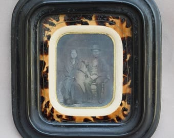1850s French Ambrotype Portrait of a Couple - Husband and Wife Old Photography - Ebonite Wall Faux Tortoiseshell Frame