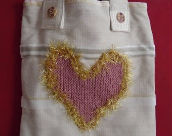 LOVE HEART: cotton canvas tote bag with hand-knitted heart detail