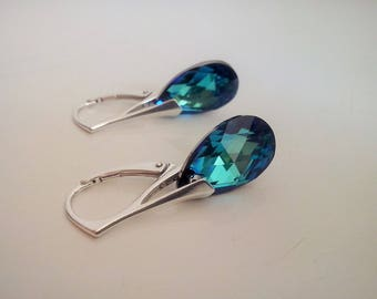 Deep blue swarovski crystal and silver stud earring studs