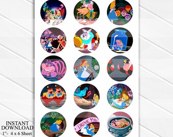 """50% OFF SALE INSTANT Download Alice in Wonderland Disney 4x6 Digital 1"""" Inch Bottle Cap Image/Digital Collage sheet"""