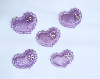 Set of 5 purple heart appliques with Rhinestones and glitter