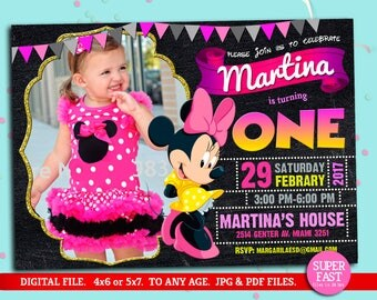 Minnie Mouse Invitations, Minnie Mouse Invitation, Minnie Mouse Birthday Invitations, Minnie Mouse Birthday, to Any age. MN02