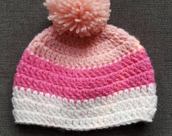 New born pink and white bobble hat