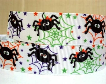 173 - Halloween - grosgrain - 22 mm sold by 50 CM - Halloween ribbon Ribbon