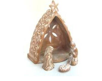 Nativity scene baked clay