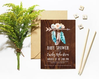 Rustic Wood Baby Shower Invitations Boho Baby Shower Printable Invites Template Tribal Arrow Feathers Invitation Neutral Baby Shower Invites