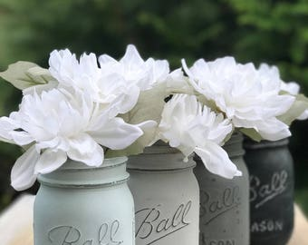 Painted mason jars for flowers. Crystal, aged gray, medium gray, chalkboard black. Mason jar centerpieces, mason jar Decor, mason jar sets.