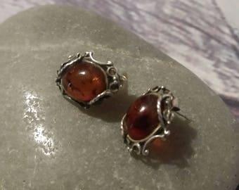 Baltic Amber Earrings,Vintage Style,Cognac, Silver