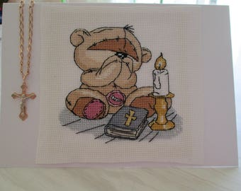 "embroidered christening ""candle"" announcements"