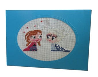 "Embroidered ""Anna and Elsa"" magic card"