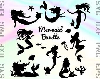 Mermaid SVG Files - Mermaid Dxf Files - Mermaid Clipart - Mermaid Cricut Files - Mermaid Cut Files - Mermaid Silhouette - Svg, Dxf, Png, Eps