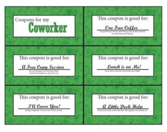 Co-Worker Coupon Book | Printable | Digital | Stocking Stuffer | Birthday | Secret Santa | Secret Pal | Encouragement