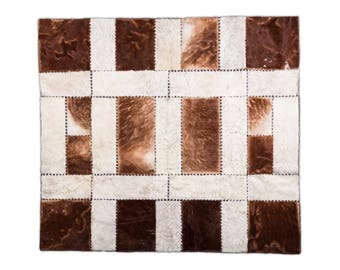 """Fine Hand Crafted Ethically Sourced Square Cowhide Patchwork Area Rug, Hair-On Genuine Bovine Leather, Modern Premium Quality, 5'11"""" x 6'7"""""""