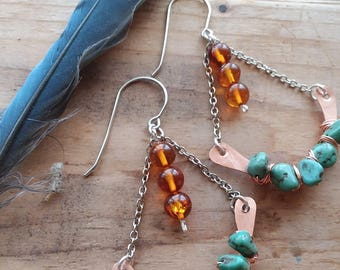 Turquoise and Amber Trapeze Copper Earrings