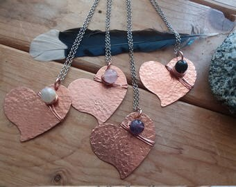 Rustic Heart Necklace Pendant Valentine's Gifts for Women
