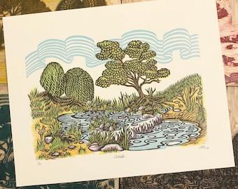 CREEK Woodcut Print
