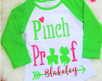 Monogram Girls St Patricks Day Shirt, Girls Saint Patricks Day Outfit, Girls Irish Shirt, Long Sleeves, Pinch Proof, Irish Gifts, Toddlers