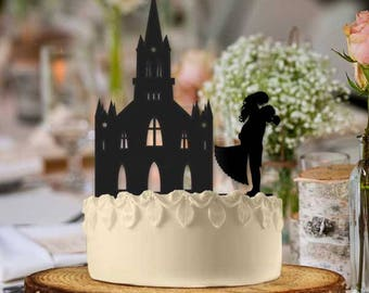 Newlywed Couple and Cathedral Wedding Cake Topper