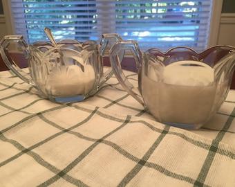 Etched Sugar Creamer Set