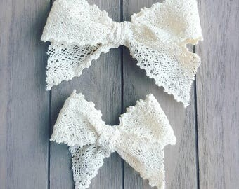 Ivory Charlotte Crochet Lace Bow - Handtied Bow - Baby girl - Nylon Headbands - Fabric hair bows/clips - Infant/Toddler