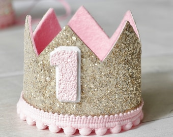 Gold & Pink Birthday Crown, 1st Birthday Crown, 2nd Birthday Crown, Cake Smash, Photo Prop