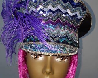 Military Hat , Festival Hat , Captain hat, Burning man Hat , Bespoke Hat , Customised Hat, Handmade Hat, Sequined Hat,