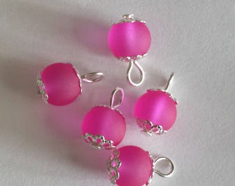 5 pendants 8mm neon pink frosted glass beads