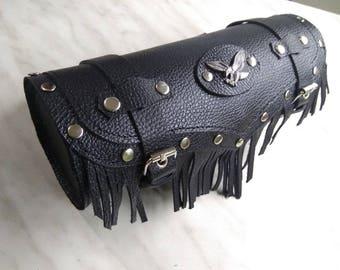 Motorcycle Tool Bag, Leather Tail Bag, Motorcycle Tool Roll, Leather Roll Bag, Leather Bicycle Tail Bag, Bike Tool Bag, Cycling Bag