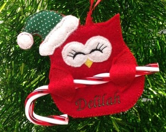 Owl Candy Cane Holder