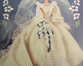PDF Crochet Doll Wedding Dress (Hoops, Veil, Crown and Bouquet)