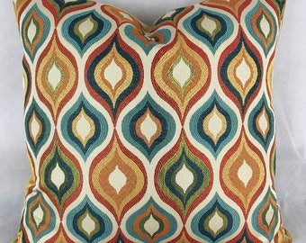 "20 x 20"" Retro Mid Century Modern Pillow Cover - Designer Fabric Throw Pillow - Flicker Ogee Jewel - Gold Velvet Contrast Back"
