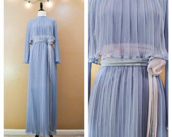 70's Miss Elliette dress, Vintage maxi dress, 70's maxi dress, Periwinkle dress, Pleated dress, Miss Elliette, Vintage prom, Bridesmaid