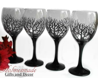 gothic wine glasses hand painted wine glasses large wine glass gothic home decor