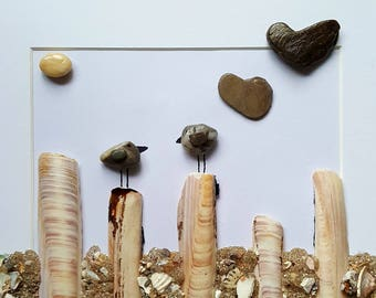 Cornish Pebble Art Picture Bird Birds on Posts Unique Handmade Box Framed Art