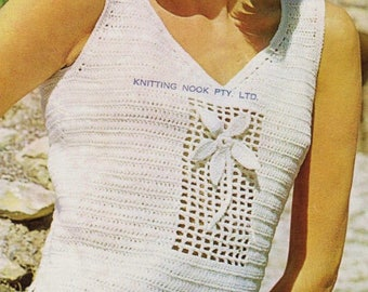 Womens Tank Top, Crochet Pattern. Instant Download.