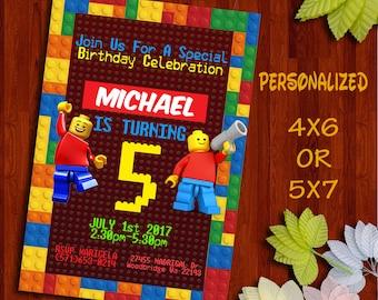 Lego Invitation, Lego Birthday Invitation, Lego Birthday, Lego Party, Lego Invite, Lego Printable, Lego Card, Lego, Lego Movie.