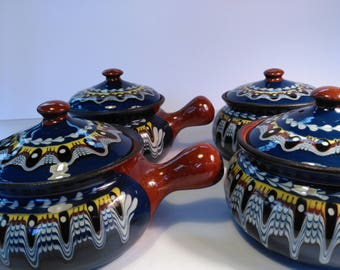 Set of Four Hand-painted Terracotta Serving Pots