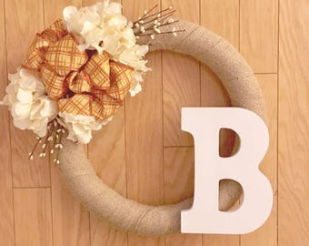 Front Door Wreath//Simple Burlap Wreath with Orange Plaid Bow, White Hydrangeas, White Stems, and White Letter//Fall Wreath//Fall Decor