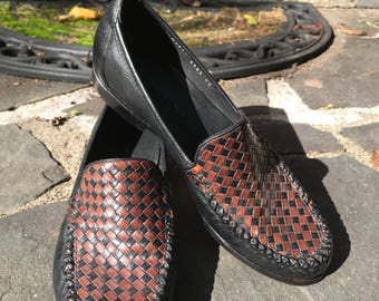Cole Haan Woven Black/Brown Leather Loafers