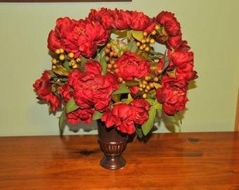 Red Peonies in Brown Vase
