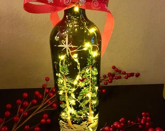 Christmas Decor - Painted Wine Bottle - Snowy Pine Trees