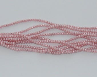50 3mm Pink Pearl glass beads