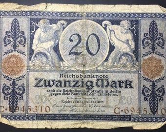 1 x German Imperial Bank Note - Reichsbanknote - 20 Mark from 1915