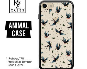 Swallow Phone Case, iPhone 7 Case, Animal Phone Case, Birds Case, Gift for Her, Tattoo Case, iPhone 7 Plus, iPhone 6 Case, Rubber, Bumper