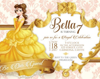 Belle Of Beauty And The Beast Birthday Invitation Printable Invites
