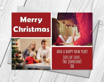 Personalised Photo Xmas / Christmas Cards | Postcards | Merry Christmas Cards | Digital / Printable DIY PDF File Christmas Cards Download