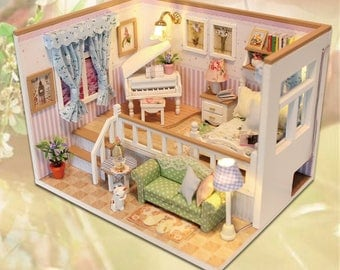 Doll House FREE shiping!!! Miniature DIY Dollhouse With Furnitures Wooden  House Stars Sky
