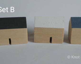Set of 3 little wooden houses.