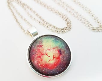 Galaxy Necklace Glass Cabochon Jewelry Nebula Pendant Pink Purple Turquoise Photo Space Stars Flare